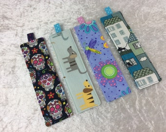 Fabric Bookmarks Handmade Bookmarks Mexican Skulls Dogs Flowers Cats
