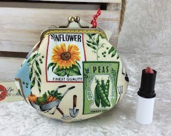 Garden Seeds coin purse wallet fabric kiss clasp frame wallet change pouch handmade gardening flowers