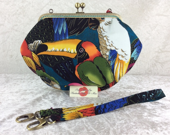 Toucans Tropical purse bag frame handbag fabric clutch shoulder bag frame purse kiss clasp bag Handmade Alexander Henry Birds of a Feather