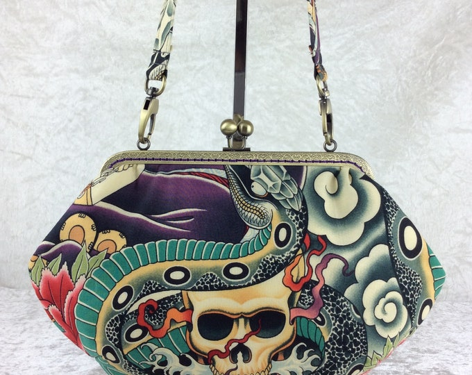 Gothic Skulls Snakes purse bag frame handbag fabric clutch shoulder bag frame purse  kiss clasp bag Handmade Alexander Henry Zen Charmer