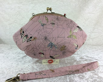 Gothic Web Moths purse bag frame handbag fabric clutch shoulder bag frame purse kiss clasp Alexander Henry Ghastlie Web