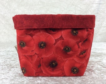 Red Poppies fabric basket storage bin box poppy