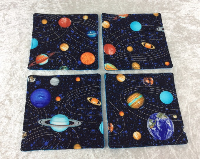 Planets Fabric coasters set of 4 mug rugs Space