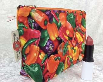 Peppers Zipper case zip pouch fabric bag pencil case purse pouch Chilli Peppers