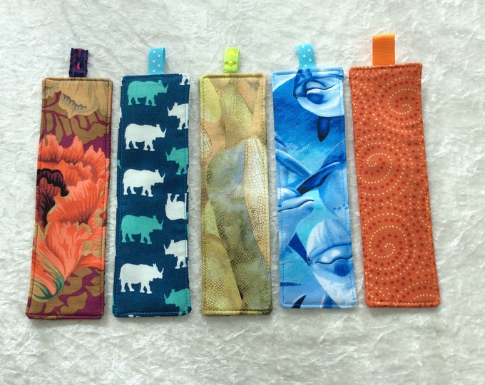 Fabric Bookmarks Handmade Bookmarks Peony's Flowers Rhinos Dragonfly Wings Dolphins Swirls