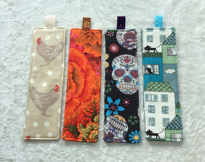Fabric Bookmarks Handmade Bookmarks Chickens Orange Cabbages Skulls Cats in town