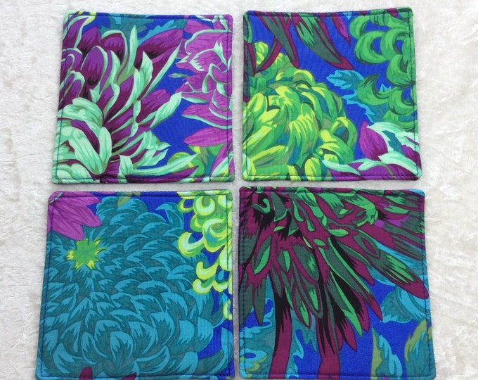 Fabric coasters set of 4 mug rugs  Japanese Chrysanthemums Kaffe Fassett Philip Jacobs