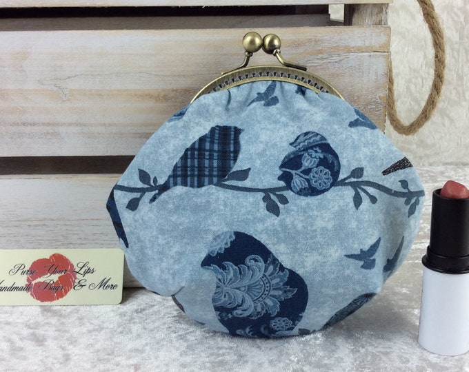 Blue Birds coin purse wallet fabric kiss clasp frame wallet change pouch handmade hand stitched frame