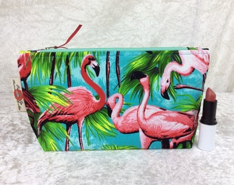 Flamingos Zipper Case Zip Pouch Purse Zip fabric bag pencil case make up purse Tropical Birds