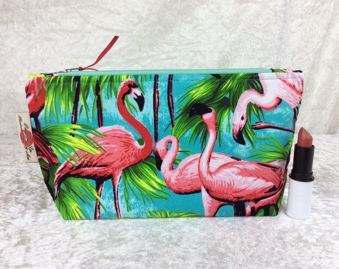 Flamingos Zipper Case Zip Pouch Purse Zip fabric bag pencil case make up purse Tropical Birds