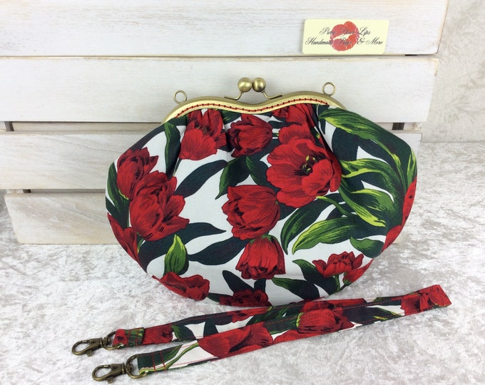 Tulips purse bag frame handbag fabric clutch shoulder bag frame purse kiss clasp bag Handmade