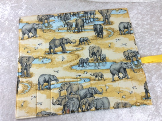 Makeup Pen Pencil Roll elephants Crochet Knitting needles tool organiser holder case wrap At the Watering Hole