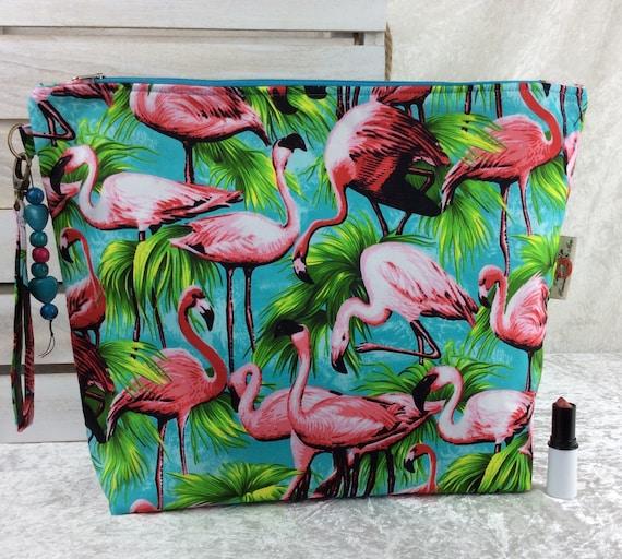 Zip case Flamingos zipper pouch purse giant bag fabric handmade