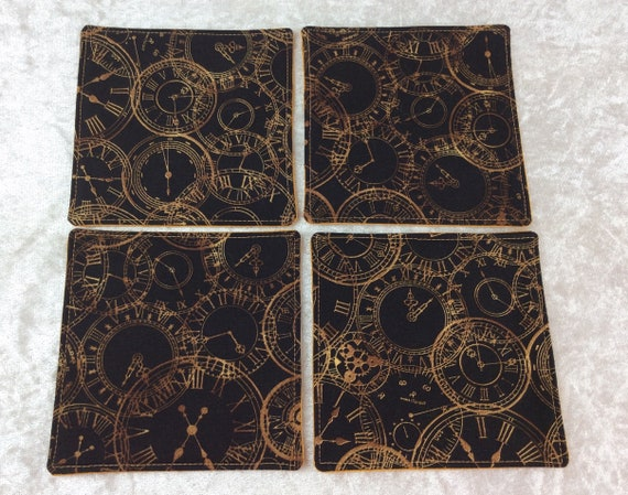 Fabric Coasters Clocks set of 4 mug mats steampunk time