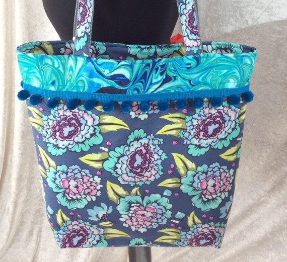 Flowers beach tote shoulder bag shopping shopper day bag purse Pom Pom zipper Handmade
