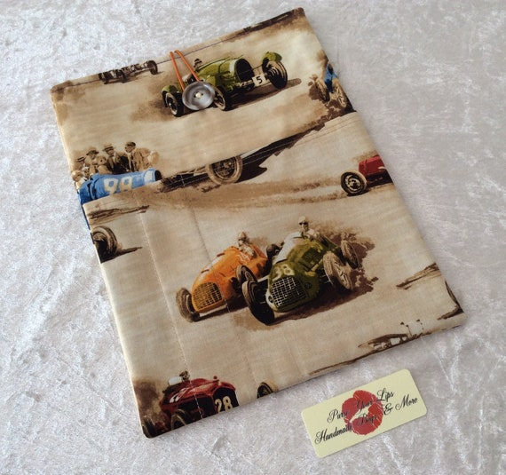 Large Tablet Case fabric cover  iPad pouch handmade Racing Car Classic Cruiser
