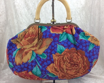 Roses Fabric purse bag frame handbag fabric handbag shoulder bag frame purse kiss clasp bag Handmade Kaffe Fassett Philip Jacobs Rose Blooms