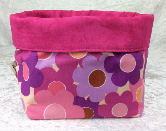 Basket storage bin box fabric handmade flowers