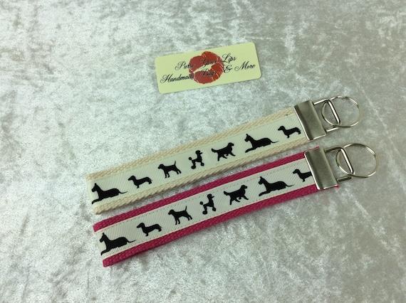 Dogs doggy Key Fob Wristlet Key Ring Chain Wrist Strap Lanyard Wedding Favours