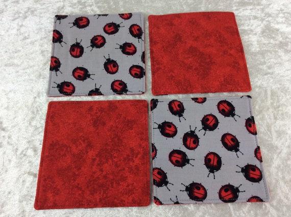 Fabric Coasters Ladybirds  set of 4 mug mats Ladybugs