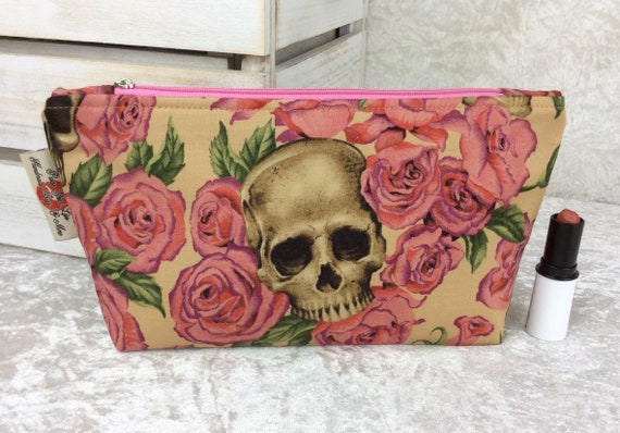 Zip case Gothic Skulls Roses zipper pouch purse pencil makeup bag fabric handmade Alexander Henry Resting In Roses