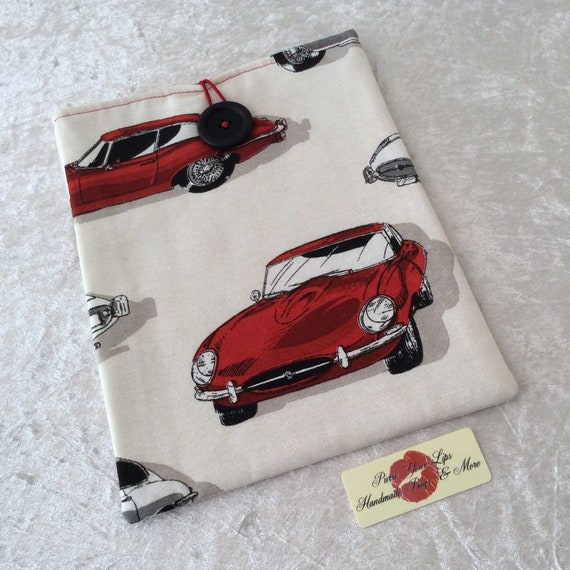 Large Tablet Case fabric cover iPad pouch Handmade Racing Cars E-Type Jaguars