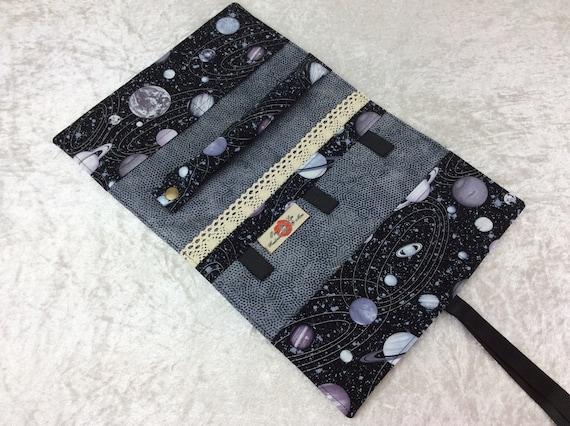 Jewellery roll Planets organiser travel case handmade space stars