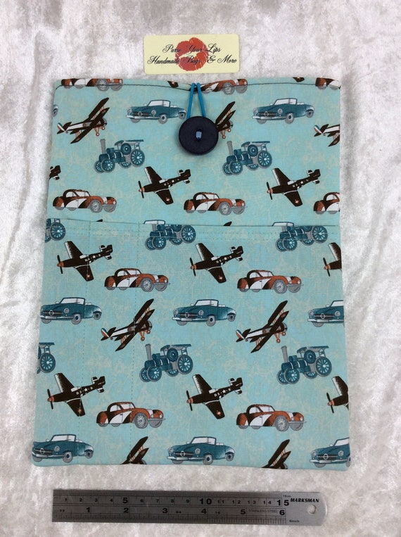 Tablet Case Cover Pouch iPad Large Handmade Planes and Steam