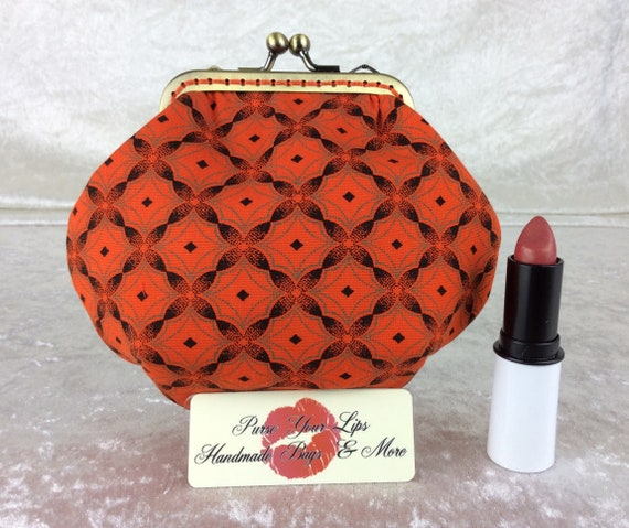 Shwe Shwe coin purse wallet fabric kiss clasp frame wallet change pouch handmade orange South Africa hand stitched frame