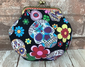 Gothic Candy Skulls Frame coin purse, Kiss clasp change pouch, Kiss lock frame wallet, Handmade, Day of the Dead