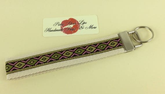 Jacquard Key Fob Wristlet Key Ring Chain Wrist Strap Lanyard Wedding Favours