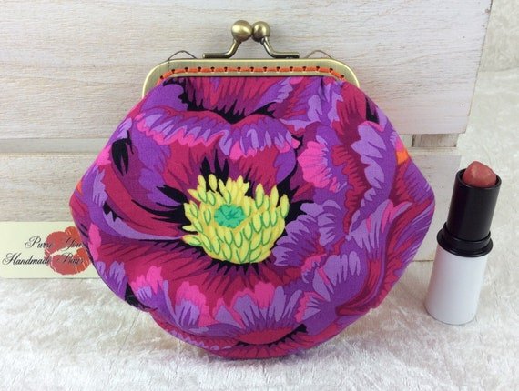 Coin purse wallet Flowers fabric kiss clasp frame wallet change pouch handmade hand stitched frame Kaffe Fassett Philip Jacobs Brocade Peony