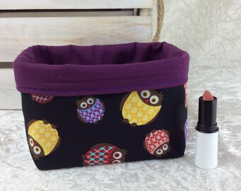 Handmade Fabric Basket Storage Bin short Owls