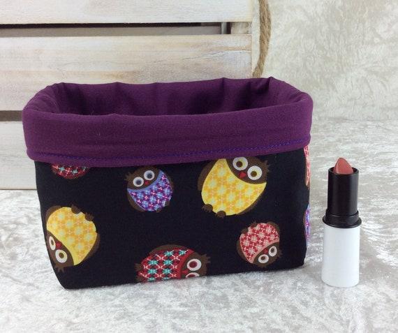Basket storage bin box fabric handmade Owls