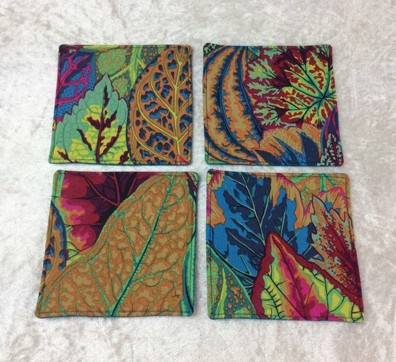 Fabric Coasters Leaves set of 4 mug mats Coleus Leaves Kaffe Fassett Philip Jacobs