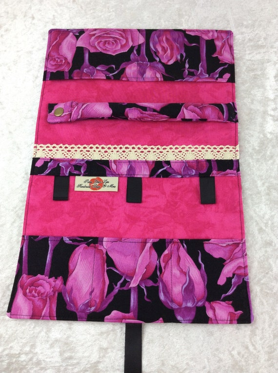 Jewellery roll Flowers organiser travel case handmade Roses