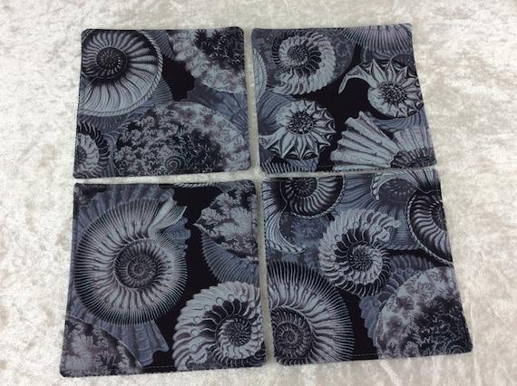 Fabric Coasters Ammonites set of 4 mug mats Fossils Shells