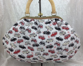 Cars Fabric purse bag frame handbag fabric handbag shoulder bag frame purse kiss clasp bag Handmade Racing Minis and Minors Morris.