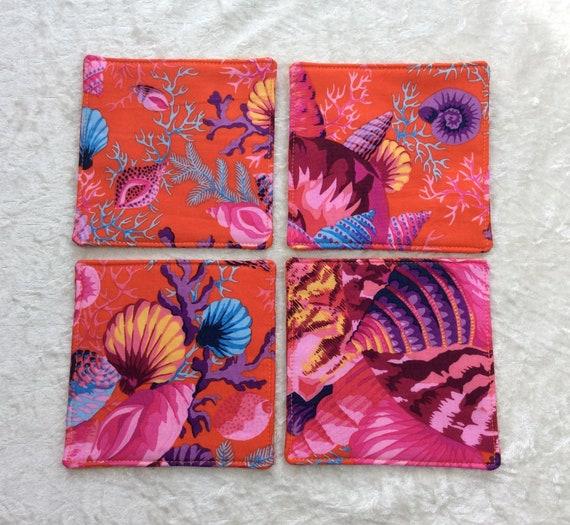 Fabric Coasters Shells set of 4 mug mats Shell Bouquet Kaffe Fassett Philip Jacobs