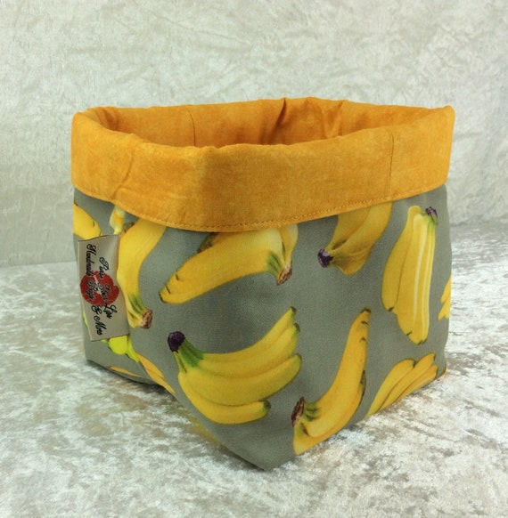 Basket storage bin box fabric handmade Bananas