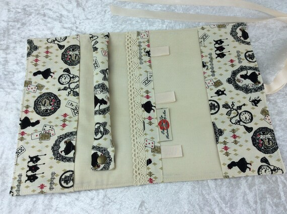 Jewellery roll Alice in Wonderland organiser travel case handmade through the looking glass