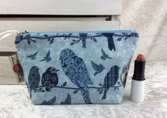Birds Zipper case zip pouch fabric bag pencil case purse pouch Blue Birds