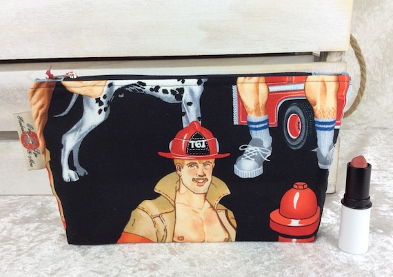 Zip case Hunky Firemen zipper pouch giant bag fabric handmade Alexander Henry Ready For Action Firefighters