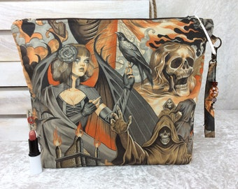 Handmade Giant Zipper Case Zip Pouch fabric Bag Purse Alexander Henry gothic Heart of Darkness Skulls crows
