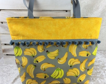 Handmade Beach tote shoulder bag Pom Pom shopping day bag purse fabric shopper bonkers Bananas
