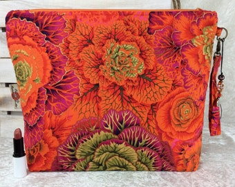 Handmade Giant Zipper Case Zip Pouch fabric Bag Purse Philip Jacobs Kaffe Fassett Brassica Cabbages
