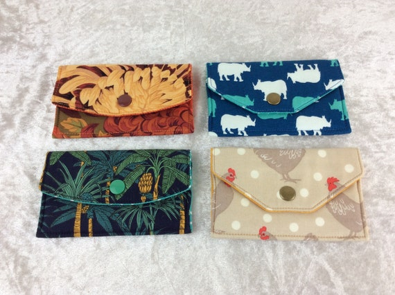 Card holder Purse Business Card case wallet fabric travel pass cover Flowers Chrysanthemums Rhinos Palm Trees Chickens