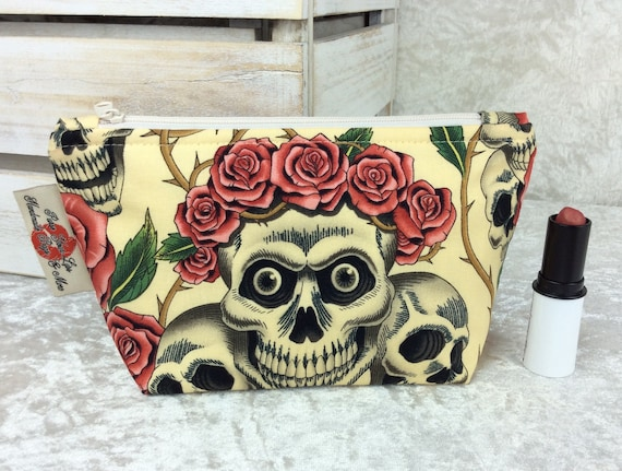 Zip case Gothic Skulls Roses zipper pouch purse pencil makeup bag fabric handmade Alexander Henry Rose Tattoo