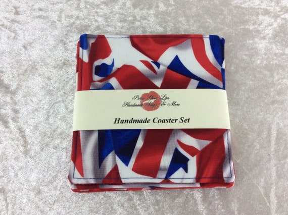 Fabric Coasters Union Flags set of 4 mug mats Union Jacks