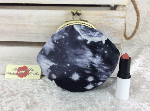 Coin purse wallet Planets fabric kiss clasp frame wallet change pouch handmade hand stitched frame stars space
